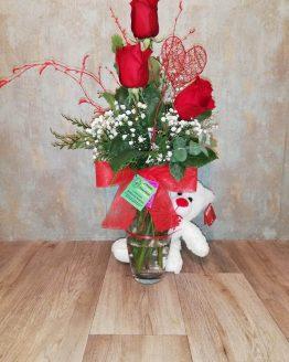 Centro de rosas con osito
